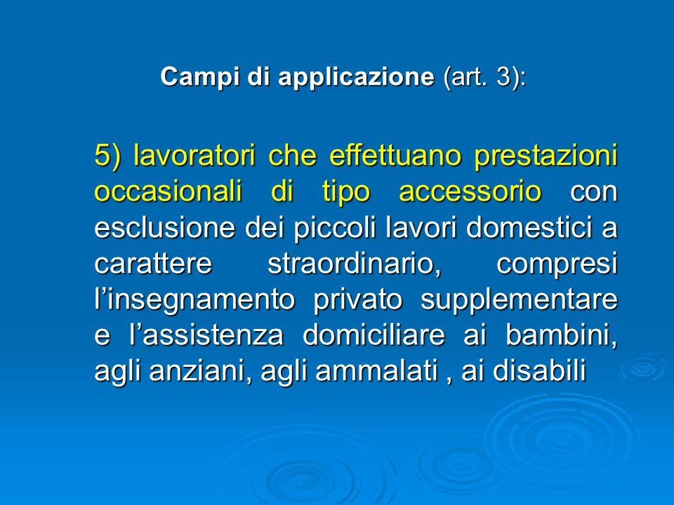 Campi di applicazione (art. 3): forme di lavoro previste dal D. Lgs. 276/03: 1) prestatori di lavoro 2) distacco di lavoro 3) lavoratori a progetto 4)