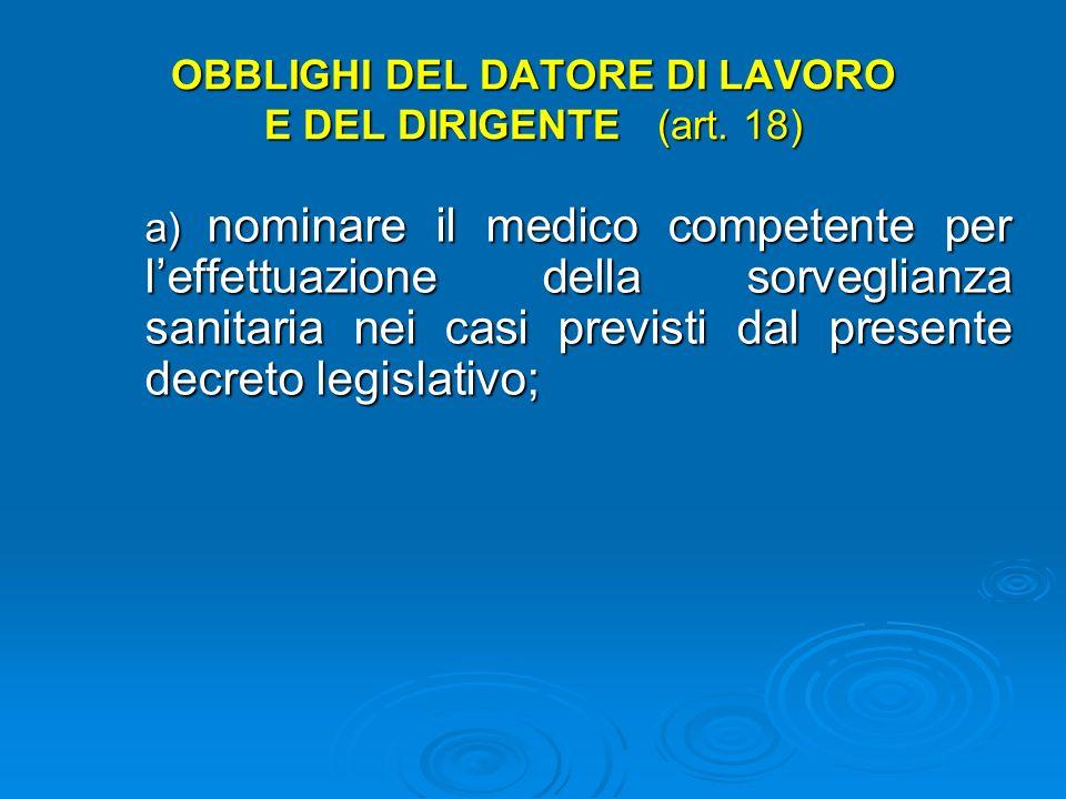 Art. 18 Obblighi del datore di lavoro e del dirigente Il datore di lavoro e i dirigenti sono tenuti a vigilare Il datore di lavoro e i dirigenti sono