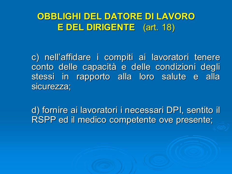 OBBLIGHI DEL DATORE DI LAVORO E DEL DIRIGENTE (art. 18) b) designare preventivamente i lavoratori incaricati dellattuazione delle misure di prevenzion