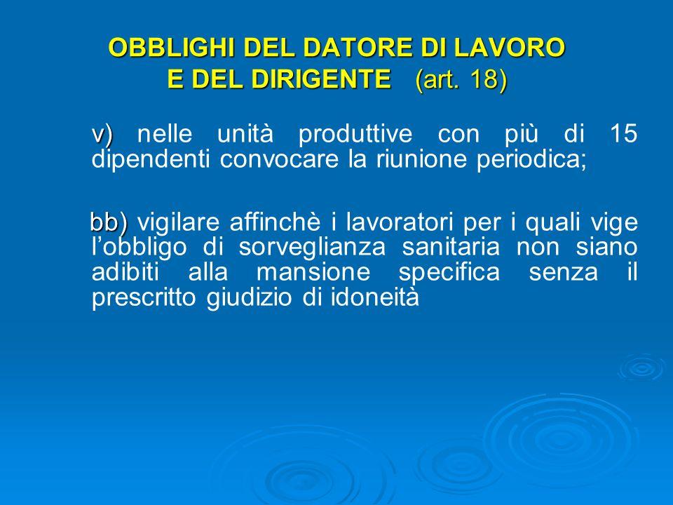 OBBLIGHI DEL DATORE DI LAVORO E DEL DIRIGENTE (art.