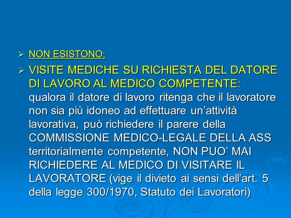 VISITA MEDICA PREVENTIVA IN FASE PREASSUNTIVA: NOVITA introdotta dal D.Lgs. 106/09, visita medica che viene effettuata ad una persona che non è compre