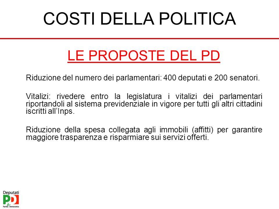 COSTI DELLA POLITICA LE PROPOSTE DEL PD Riduzione del numero dei parlamentari: 400 deputati e 200 senatori. Vitalizi: rivedere entro la legislatura i