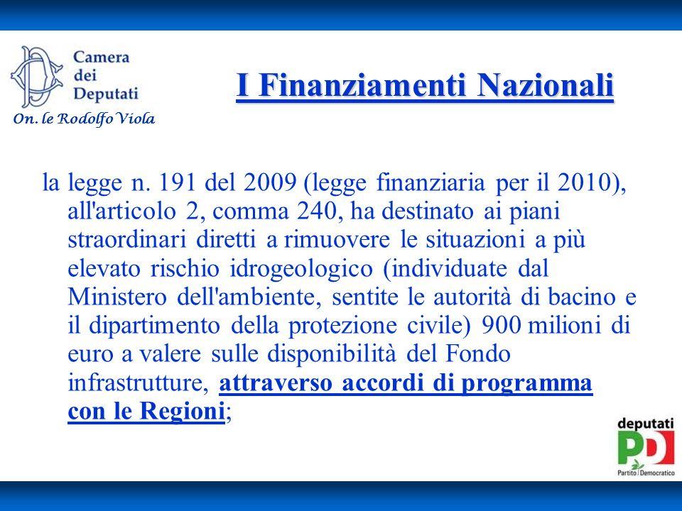 I Finanziamenti Nazionali la legge n.