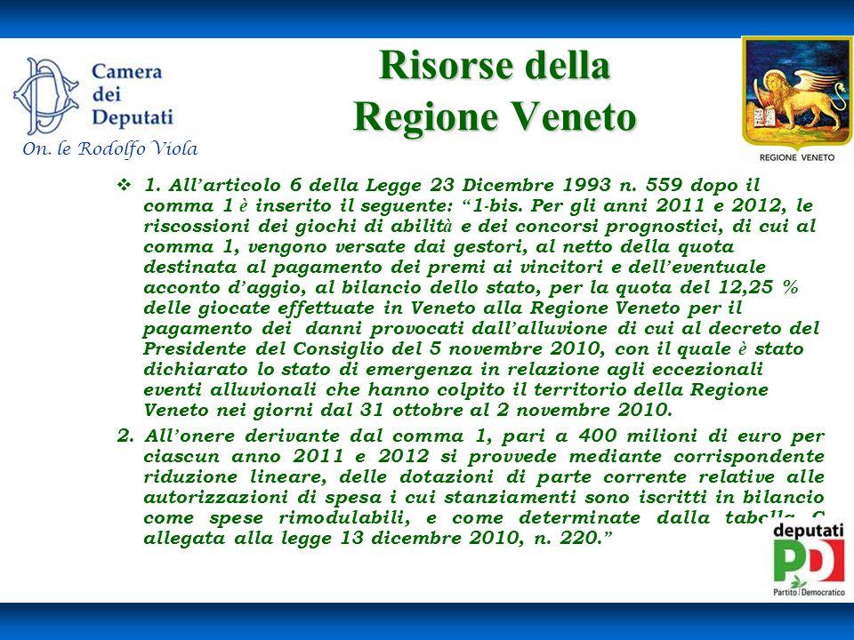 Risorse della Regione Veneto Risorse della Regione Veneto 1.