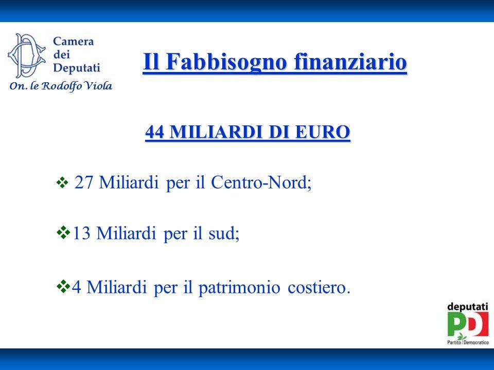 Il Fabbisogno finanziario 44 MILIARDI DI EURO 27 Miliardi per il Centro-Nord; 13 Miliardi per il sud; 4 Miliardi per il patrimonio costiero.