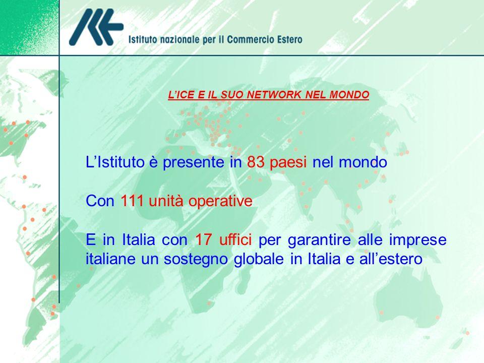 LICE E IL SUO NETWORK NEL MONDO LIstituto è presente in 83 paesi nel mondo Con 111 unità operative E in Italia con 17 uffici per garantire alle impres