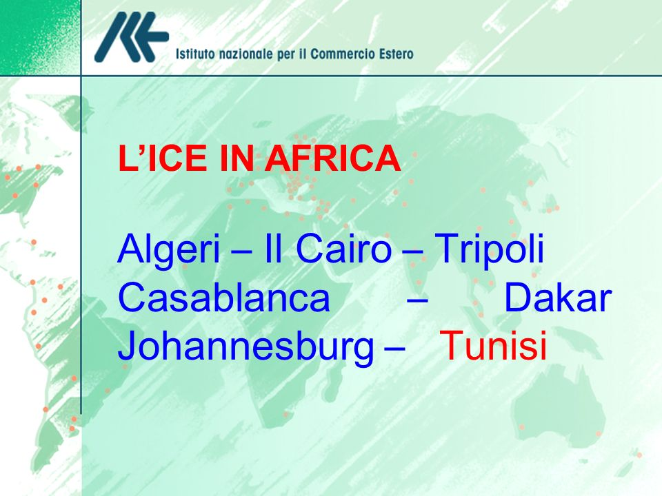 LICE IN AFRICA Algeri – Il Cairo – Tripoli Casablanca – Dakar Johannesburg – Tunisi