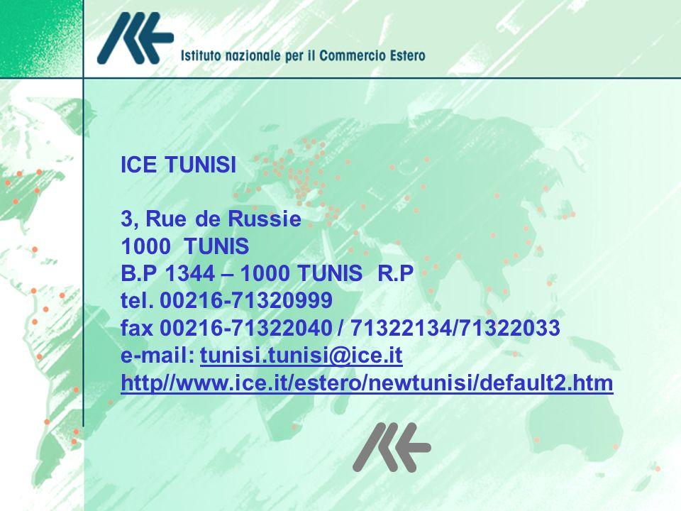 ANNO 2005 ICE TUNISI 3, Rue de Russie 1000 TUNIS B.P 1344 – 1000 TUNIS R.P tel. 00216-71320999 fax 00216-71322040 / 71322134/71322033 e-mail: tunisi.t