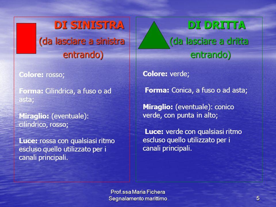 Prof.ssa Maria Fichera Segnalamento marittimo5 DI SINISTRA DI SINISTRA (da lasciare a sinistra (da lasciare a sinistra entrando) entrando) DI DRITTA D