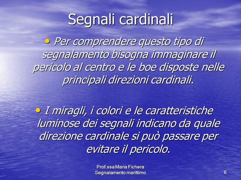 Prof.ssa Maria Fichera Segnalamento marittimo6 Segnali cardinali Per comprendere questo tipo di segnalamento bisogna immaginare il pericolo al centro
