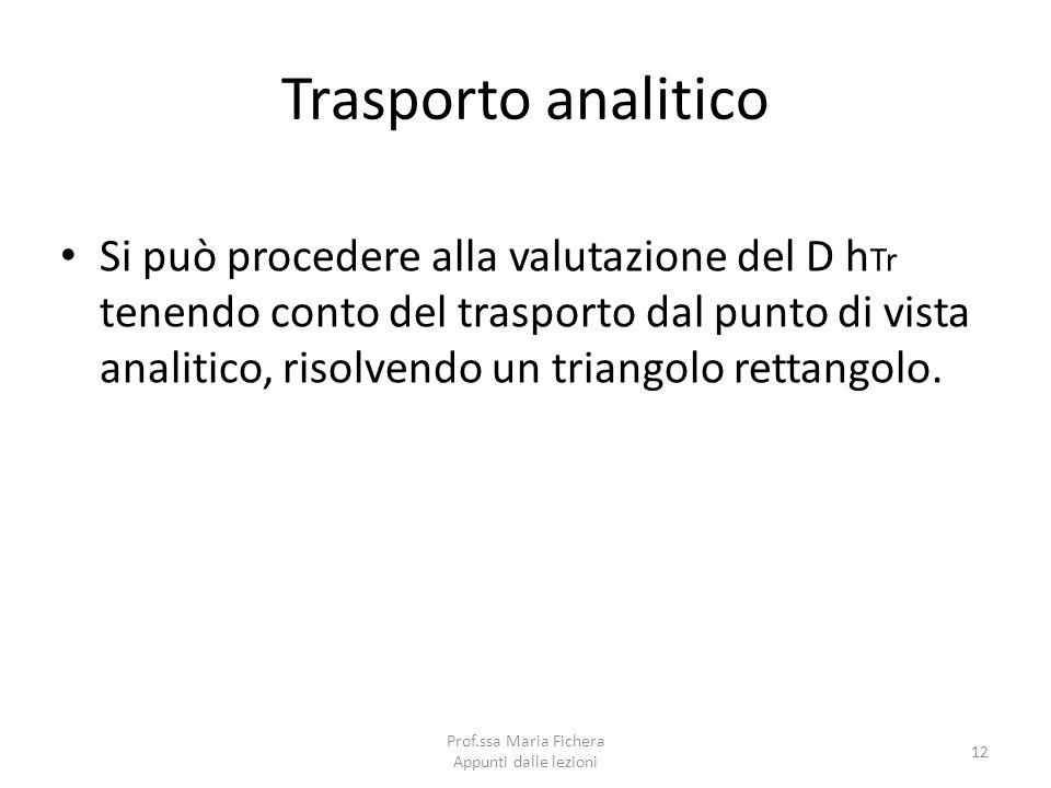 Trasporto analitico Si può procedere alla valutazione del D h Tr tenendo conto del trasporto dal punto di vista analitico, risolvendo un triangolo ret