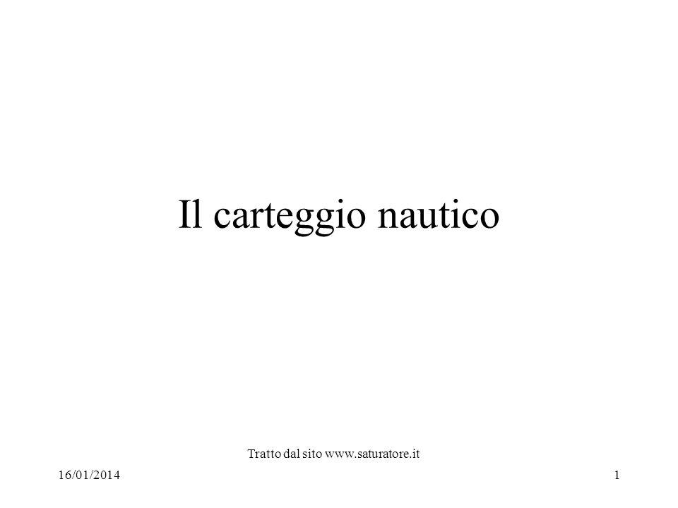 Il carteggio nautico 16/01/20141 Tratto dal sito www.saturatore.it