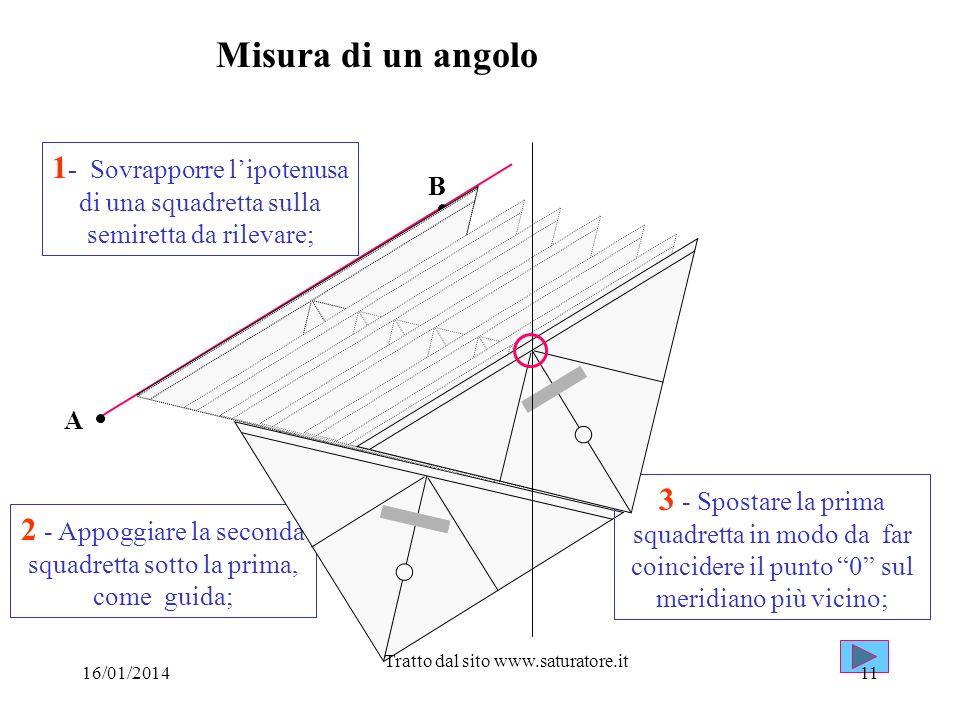 Misura di un angolo A B 1 - Sovrapporre lipotenusa di una squadretta sulla semiretta da rilevare; 2 - Appoggiare la seconda squadretta sotto la prima,