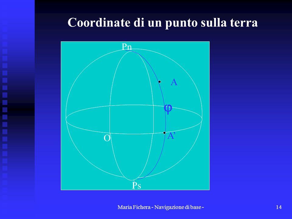 Maria Fichera - Navigazione di base -14 Coordinate di un punto sulla terra Ps Pn O A A