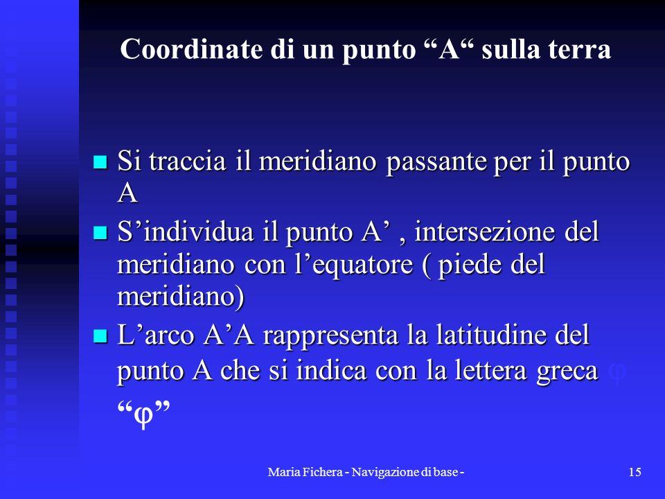 Maria Fichera - Navigazione di base -15 Coordinate di un punto A sulla terra Si traccia il meridiano passante per il punto A Si traccia il meridiano p