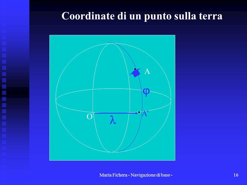 Maria Fichera - Navigazione di base -16 Coordinate di un punto sulla terra O A A