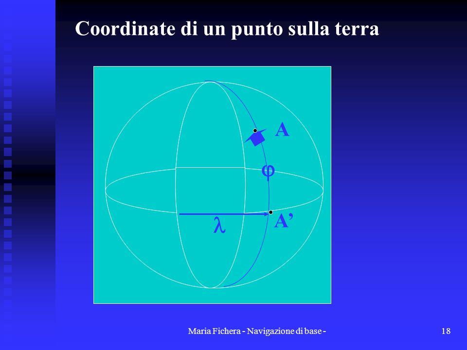 Maria Fichera - Navigazione di base -18 Coordinate di un punto sulla terra A A A