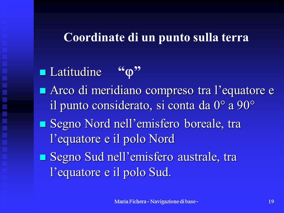 Maria Fichera - Navigazione di base -19 Coordinate di un punto sulla terra Latitudine Latitudine Arco di meridiano compreso tra lequatore e il punto c