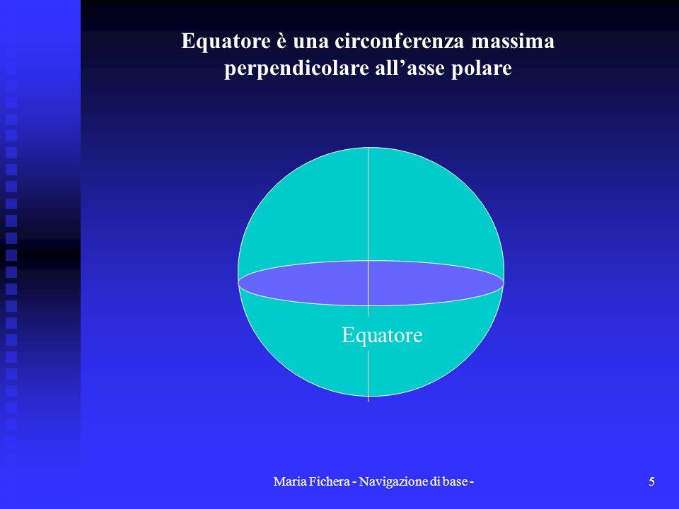Maria Fichera - Navigazione di base -5 Equatore Equatore è una circonferenza massima perpendicolare allasse polare