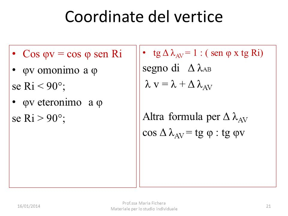 Coordinate del vertice Cos φv = cos φ sen Ri φv omonimo a φ se Ri < 90°; φv eteronimo a φ se Ri > 90°; tg Δ λ AV = 1 : ( sen φ x tg Ri) segno di Δ λ A