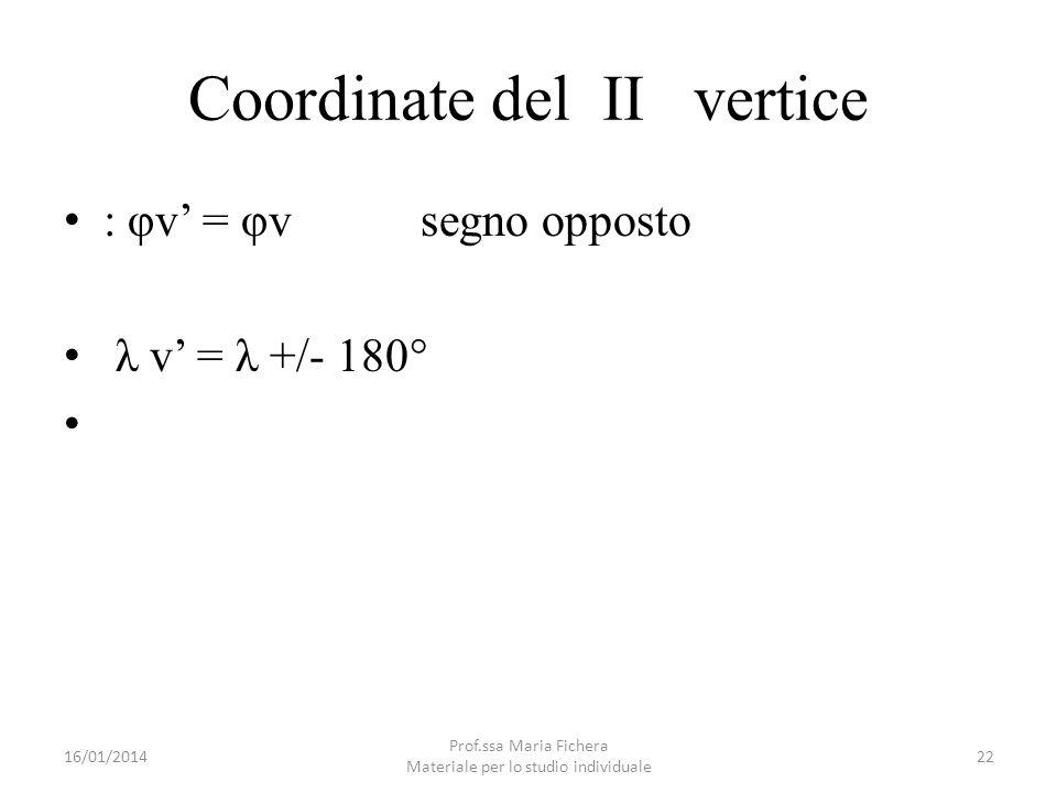 Coordinate del II vertice : φv = φv segno opposto λ v = λ +/- 180° 16/01/201422 Prof.ssa Maria Fichera Materiale per lo studio individuale