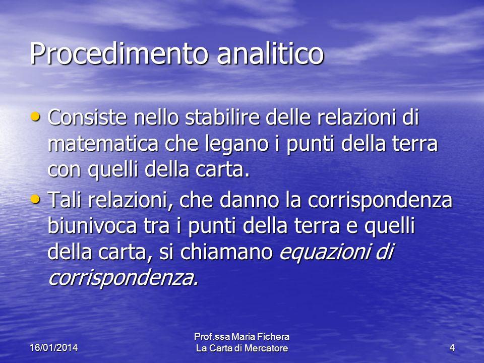 16/01/2014 Prof.ssa Maria Fichera La Carta di Mercatore4 Procedimento analitico Consiste nello stabilire delle relazioni di matematica che legano i pu