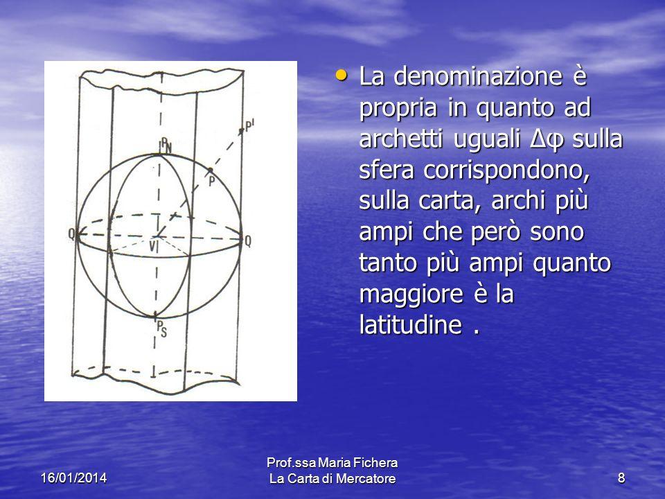 16/01/2014 Prof.ssa Maria Fichera La Carta di Mercatore8 La denominazione è propria in quanto ad archetti uguali Δφ sulla sfera corrispondono, sulla carta, archi più ampi che però sono tanto più ampi quanto maggiore è la latitudine.