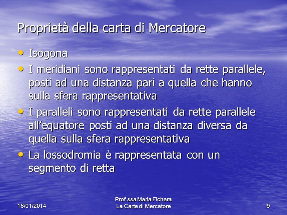 16/01/2014 Prof.ssa Maria Fichera La Carta di Mercatore9 Proprietà della carta di Mercatore Isogona Isogona I meridiani sono rappresentati da rette pa