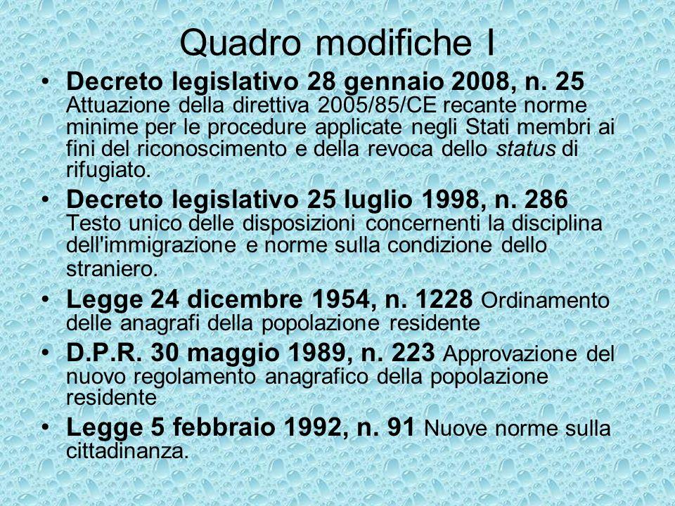 Quadro modifiche I Decreto legislativo 28 gennaio 2008, n.