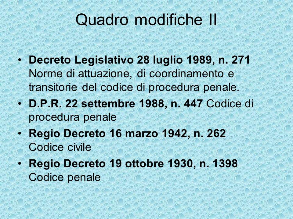 Quadro modifiche II Decreto Legislativo 28 luglio 1989, n.