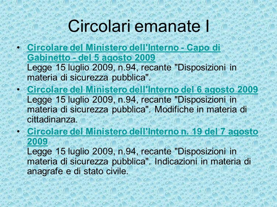 Circolari emanate II Circolare del Ministero dell Interno prot.