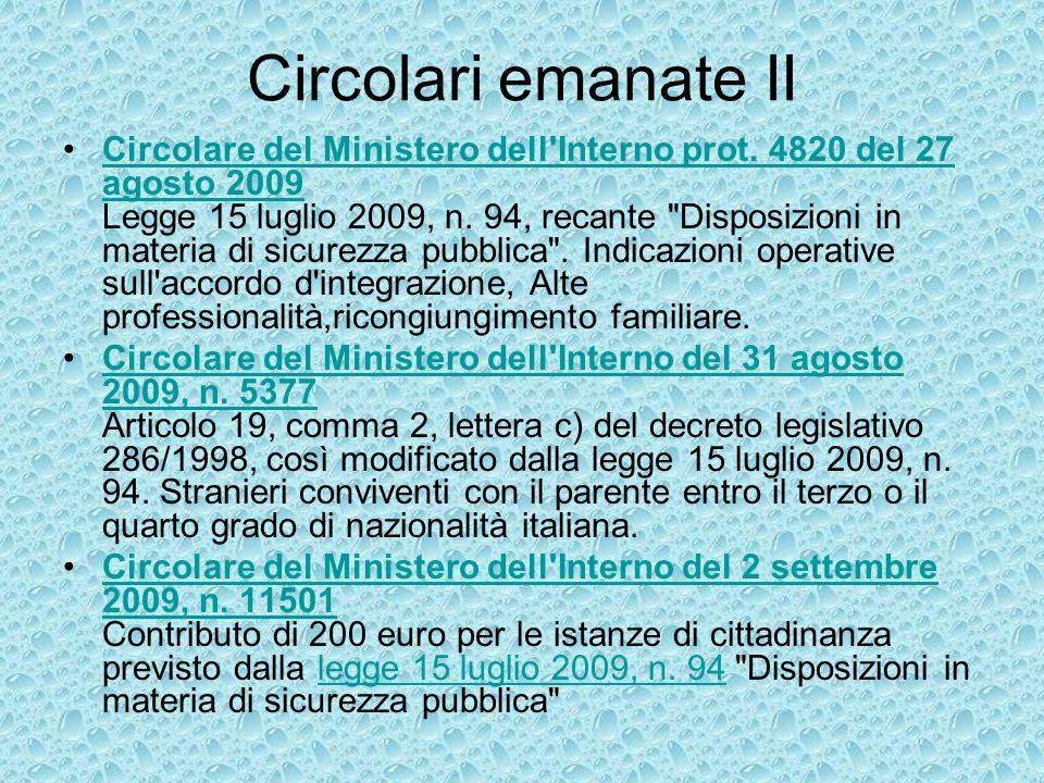Circolari emanate III Circolare del Ministero dell Interno del 18 novembre 2009, n.