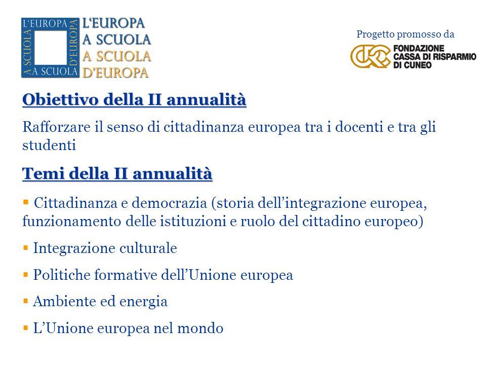 Obiettivo della II annualità Rafforzare il senso di cittadinanza europea tra i docenti e tra gli studenti Temi della II annualità Cittadinanza e democ