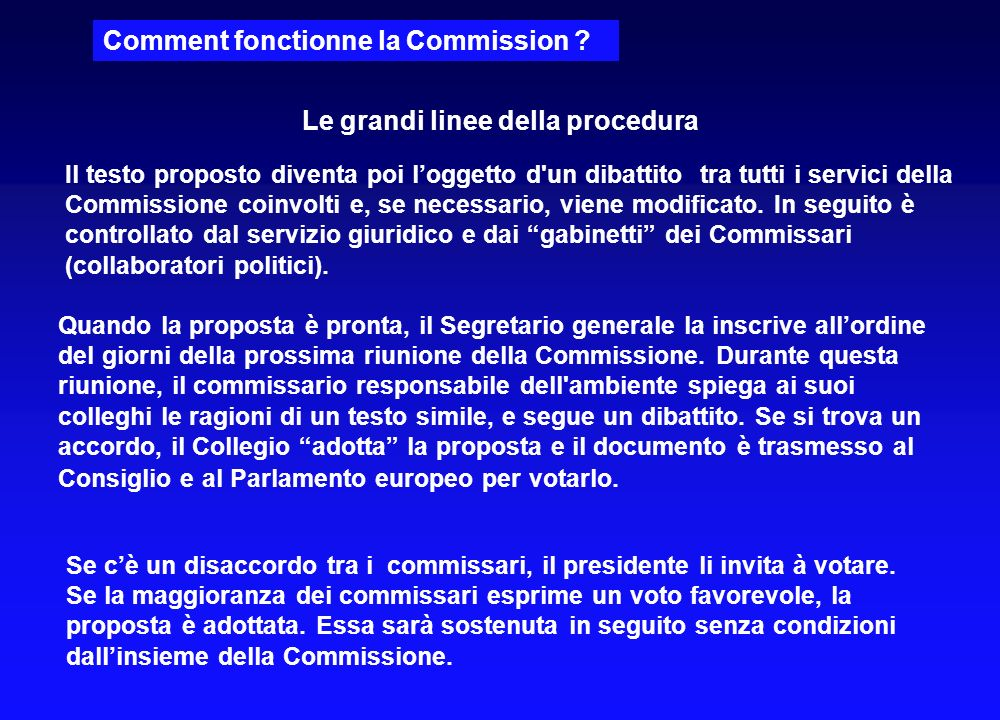 Comment fonctionne la Commission ? Supponiamo, per esempio, che la Commissione ritiene necessaria una legislazione europea per prevenire linquinamento