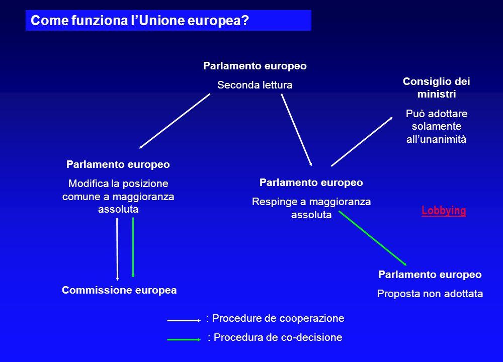 Come funziona lUnione europea? Consiglio dei ministri Adotta una posizione comune alla maggioranza qualificata Commissione europea Informa il Parlamen