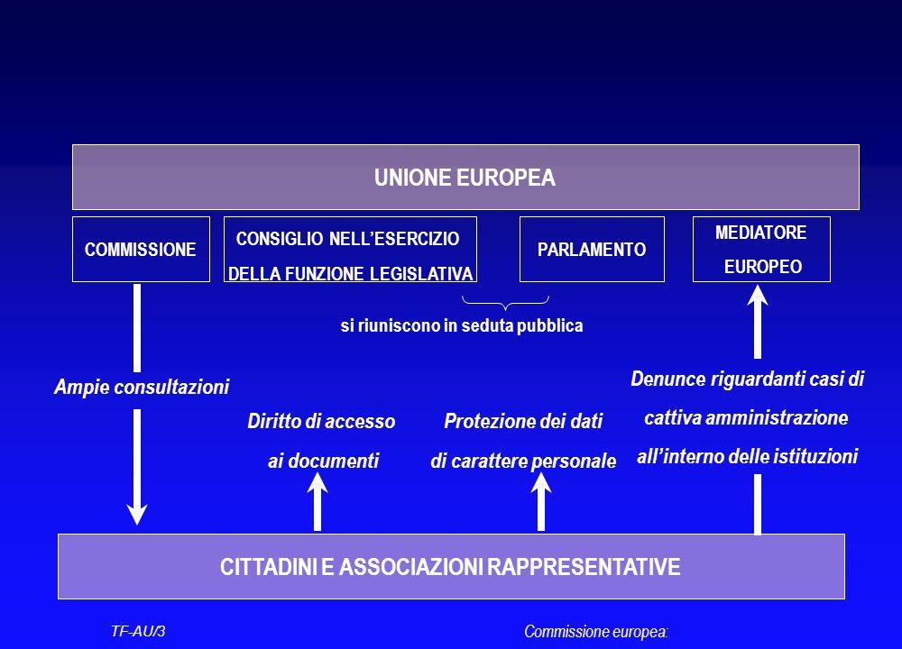 Commissione europea: TF-AU/3 UNIONE EUROPEA COMMISSIONEPARLAMENTO CONSIGLIO NELLESERCIZIO DELLA FUNZIONE LEGISLATIVA si riuniscono in seduta pubblica CITTADINI E ASSOCIAZIONI RAPPRESENTATIVE Ampie consultazioni MEDIATORE EUROPEO Denunce riguardanti casi di cattiva amministrazione allinterno delle istituzioni Diritto di accesso ai documenti Protezione dei dati di carattere personale