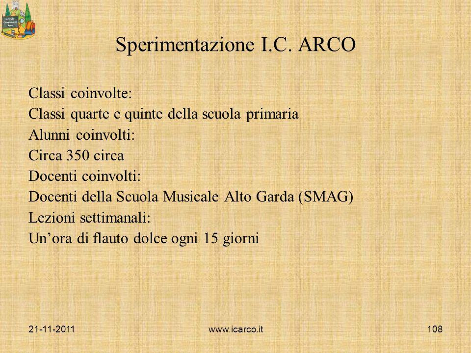 Sperimentazione I.C. ARCO Classi coinvolte: Classi quarte e quinte della scuola primaria Alunni coinvolti: Circa 350 circa Docenti coinvolti: Docenti
