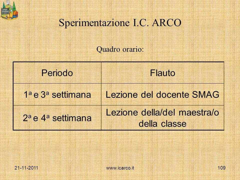 Sperimentazione I.C. ARCO Quadro orario: PeriodoFlauto 1 a e 3 a settimanaLezione del docente SMAG 2 a e 4 a settimana Lezione della/del maestra/o del