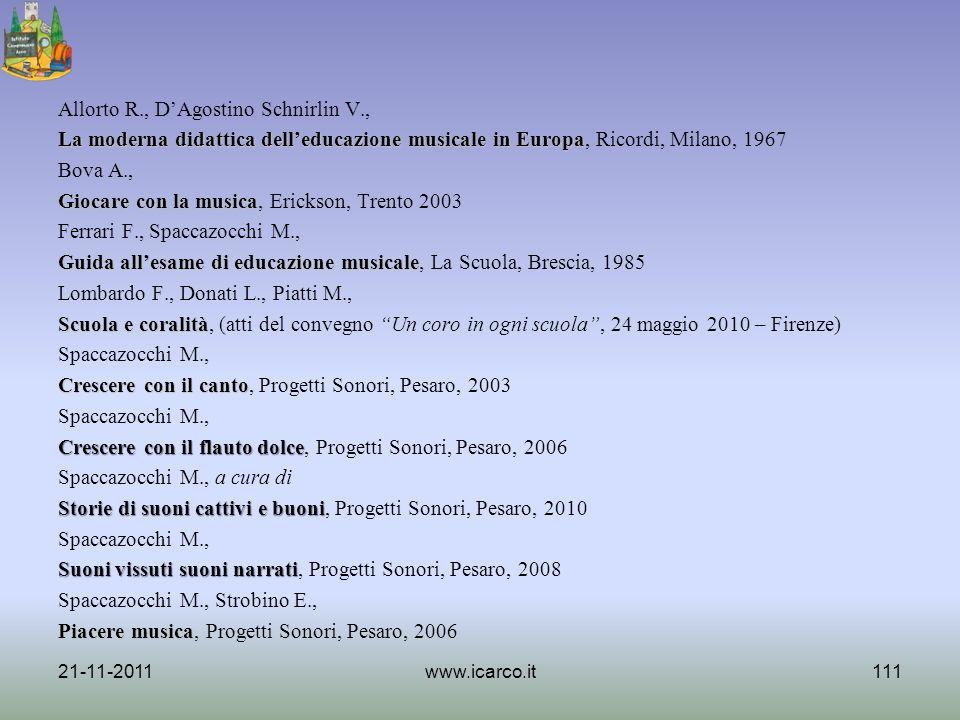 Allorto R., DAgostino Schnirlin V., La moderna didattica delleducazione musicale in Europa La moderna didattica delleducazione musicale in Europa, Ric