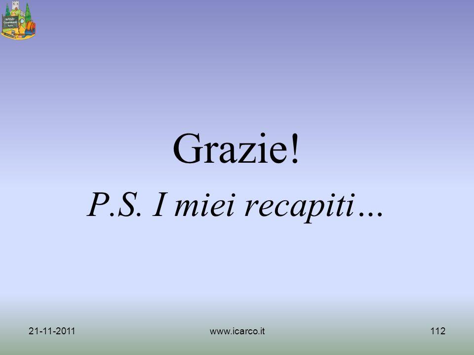 Grazie! P.S. I miei recapiti… 21-11-2011www.icarco.it112