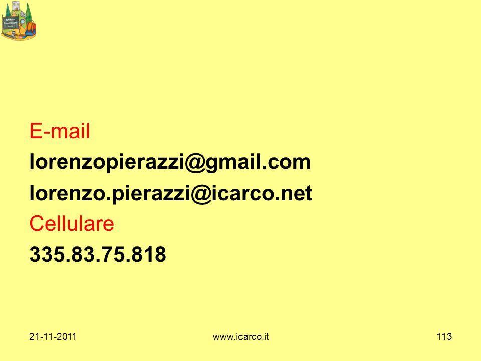 E-mail lorenzopierazzi@gmail.com lorenzo.pierazzi@icarco.net Cellulare 335.83.75.818 21-11-2011www.icarco.it113