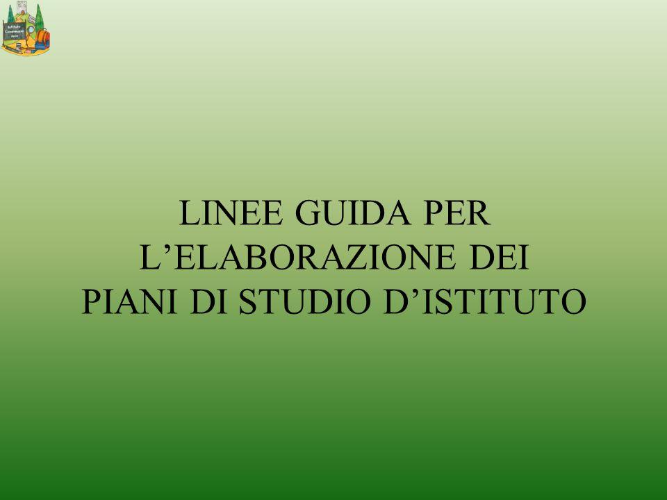LINEE GUIDA PER LELABORAZIONE DEI PIANI DI STUDIO DISTITUTO