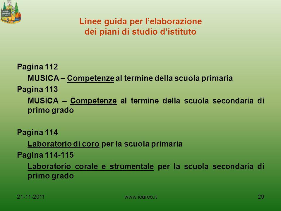 Linee guida per lelaborazione dei piani di studio distituto Pagina 112 MUSICA – Competenze al termine della scuola primaria Pagina 113 MUSICA – Compet