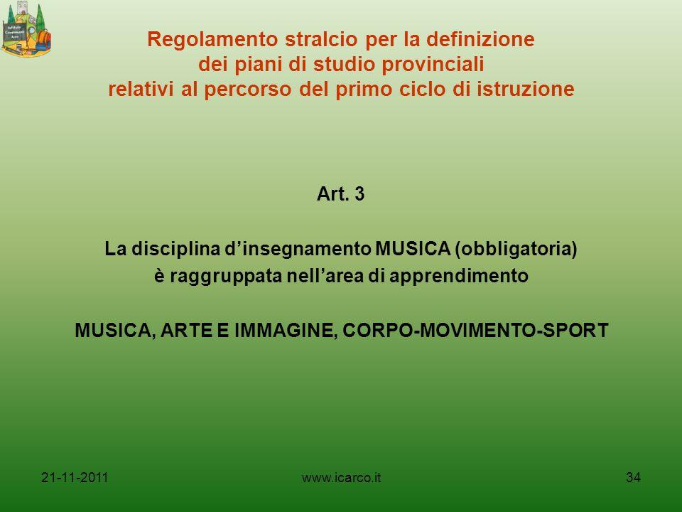 Regolamento stralcio per la definizione dei piani di studio provinciali relativi al percorso del primo ciclo di istruzione Art. 3 La disciplina dinseg