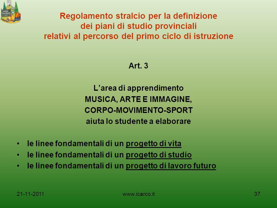 Regolamento stralcio per la definizione dei piani di studio provinciali relativi al percorso del primo ciclo di istruzione Art. 3 Larea di apprendimen