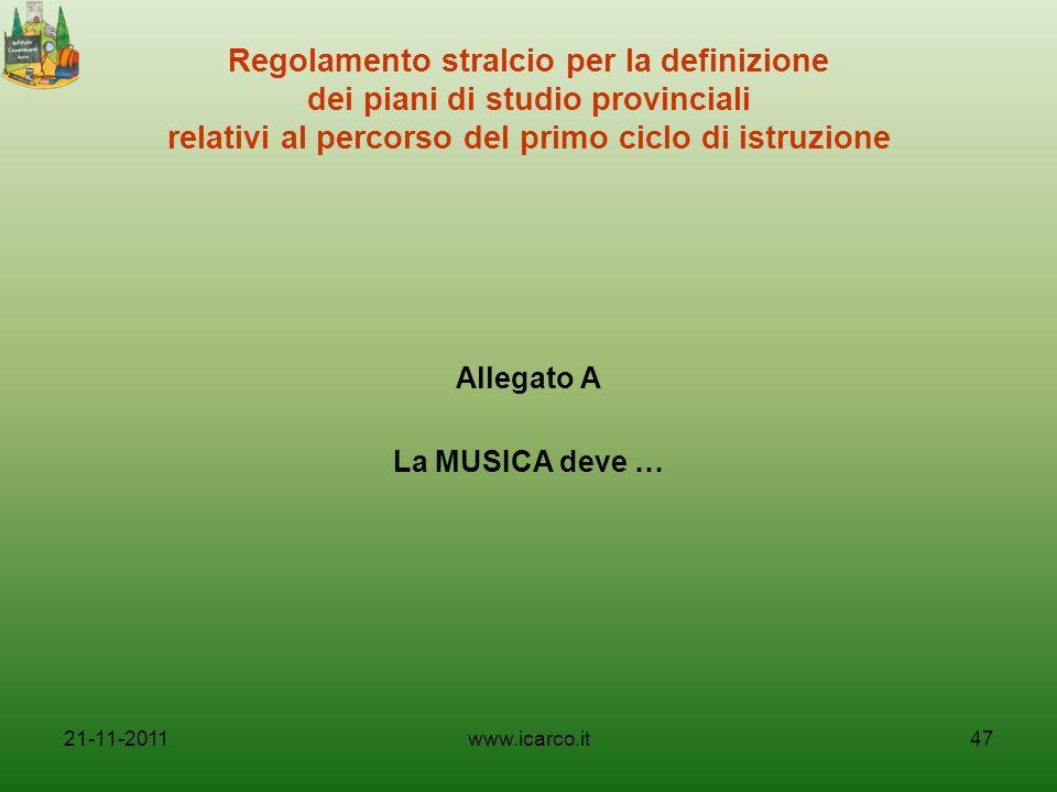 Regolamento stralcio per la definizione dei piani di studio provinciali relativi al percorso del primo ciclo di istruzione Allegato A La MUSICA deve …