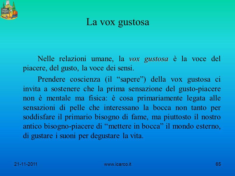 La vox gustosa vox gustosa Nelle relazioni umane, la vox gustosa è la voce del piacere, del gusto, la voce dei sensi. Prendere coscienza (il sapere) d