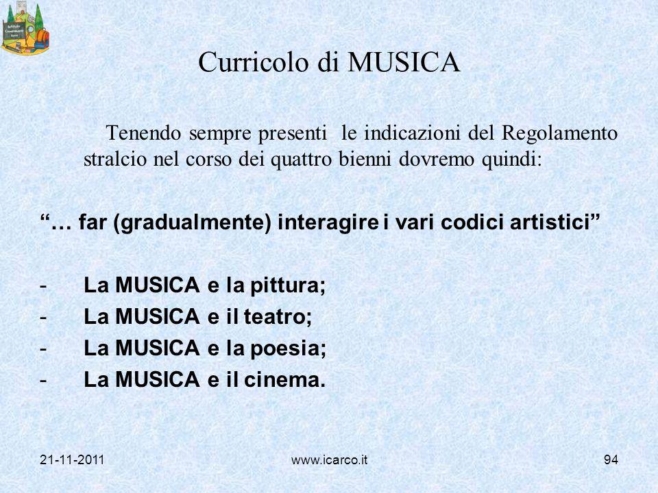 Curricolo di MUSICA Tenendo sempre presenti le indicazioni del Regolamento stralcio nel corso dei quattro bienni dovremo quindi: … far (gradualmente)