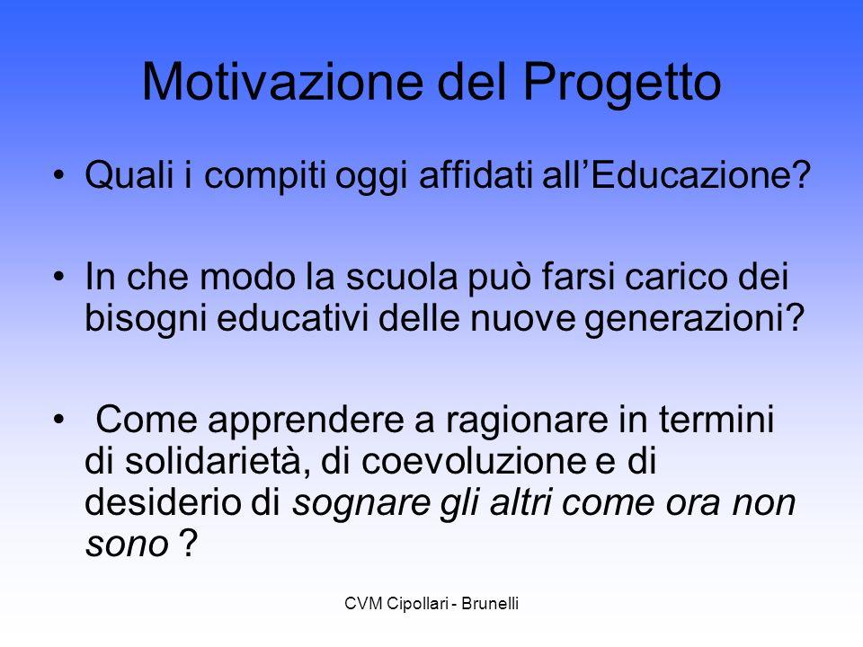 CVM Cipollari - Brunelli Motivazione del Progetto Quali i compiti oggi affidati allEducazione? In che modo la scuola può farsi carico dei bisogni educ