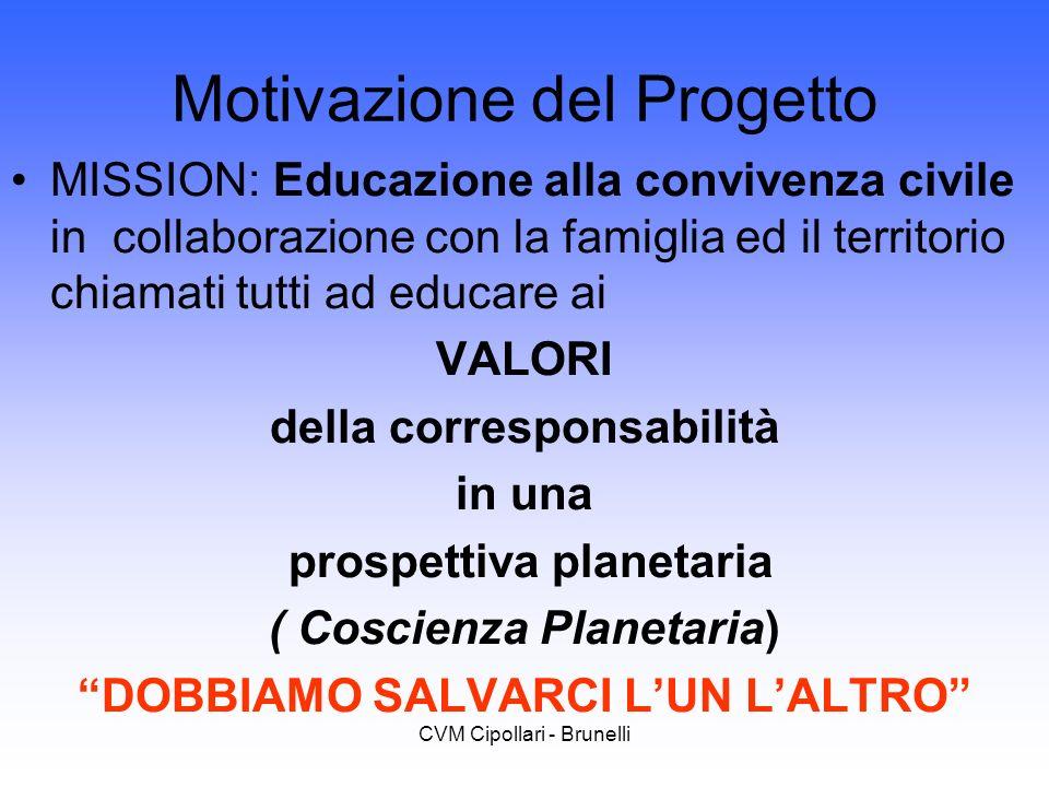 CVM Cipollari - Brunelli Motivazione del Progetto MISSION: Educazione alla convivenza civile in collaborazione con la famiglia ed il territorio chiama
